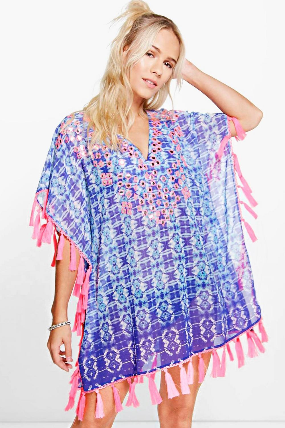 Petite Alex Neon Trim Mirror Embroidered Kaftan
