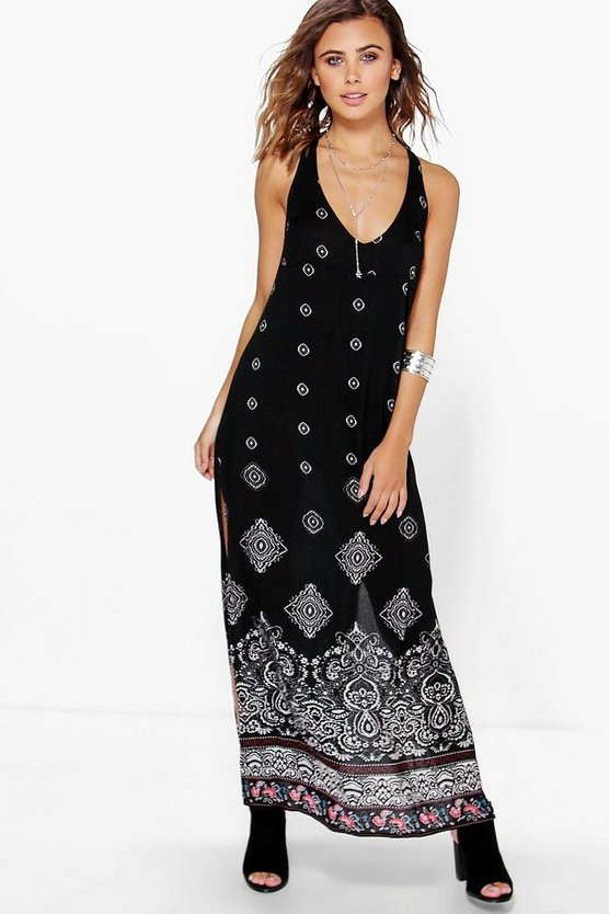 Petite Eden Back Detail Printed Woven Maxi Dress