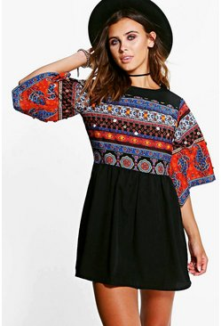 Petite Eva Embellished Woven Wide Sleeve Dress