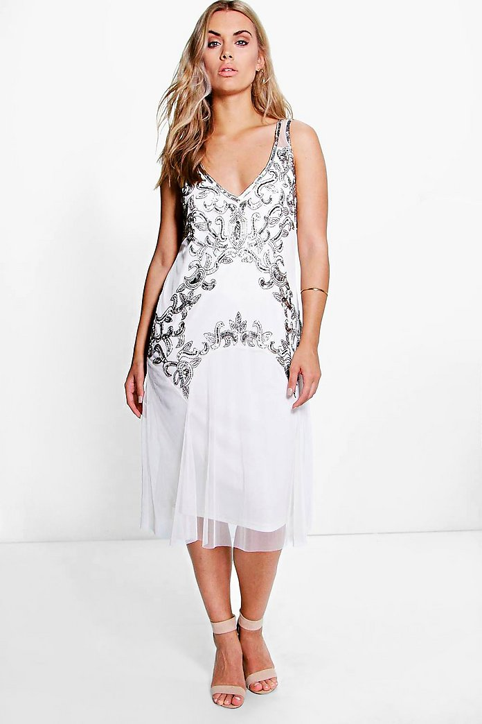 Plus Emily Embellished Midi Dress
