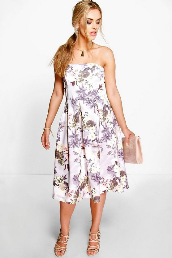 Plus Leanne Floral Bandeau Midi Dress