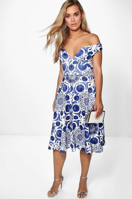 Plus Leah Floral Bardot Midi Dress