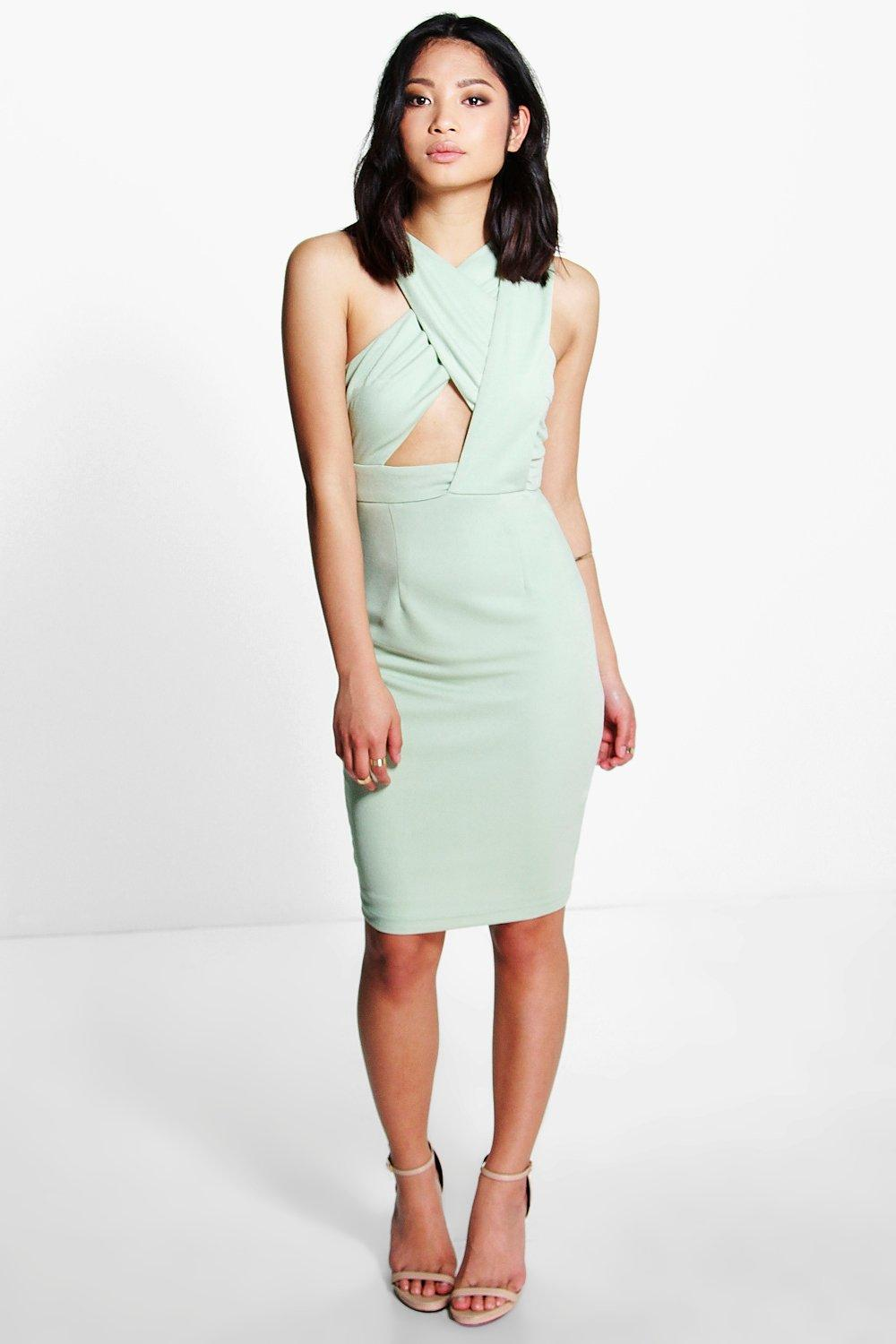Petite Jenna Cross Front Strappy Midi Dress