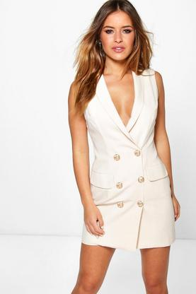Petite Amy Button Detail Sleeveless Blazer Dress