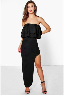 Petite Ella Frill Thigh Split Maxi Dress