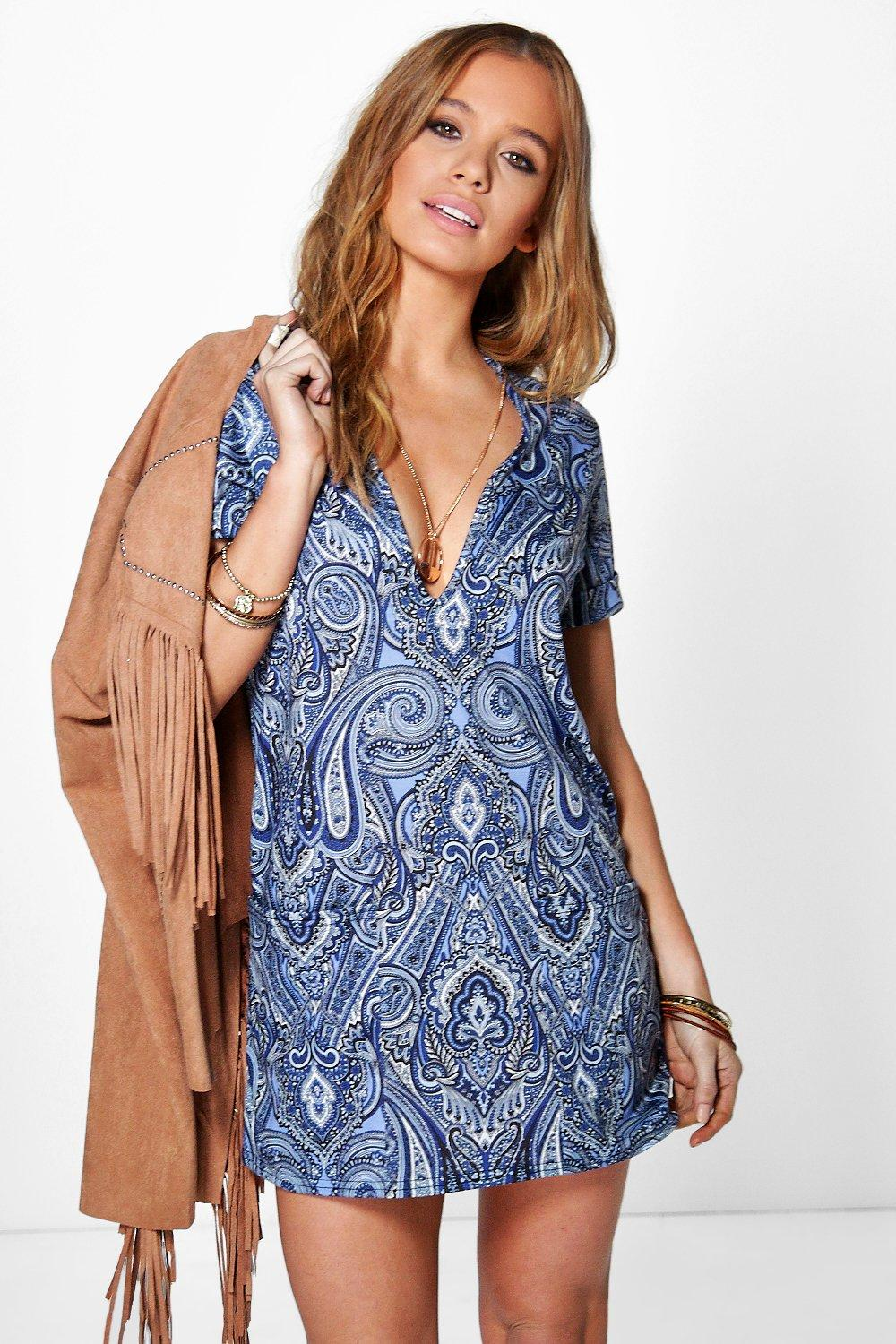 Petite Amy Deep V Neck Printed Shift Dress