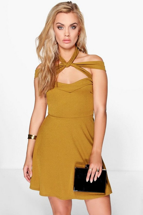 Plus Katie Strappy Neck Skater Dress