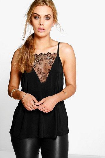 Black Plus Lace Detail Cami Top