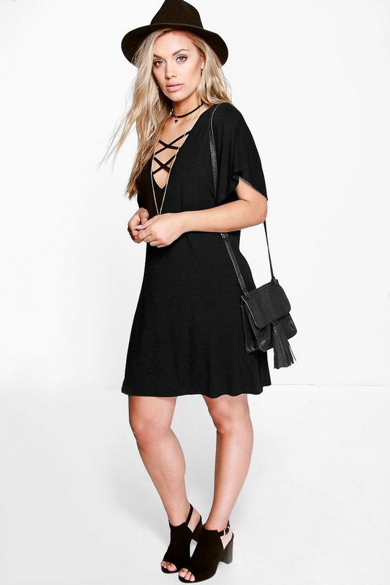 Plus Jenna Strappy Front Swing Dress