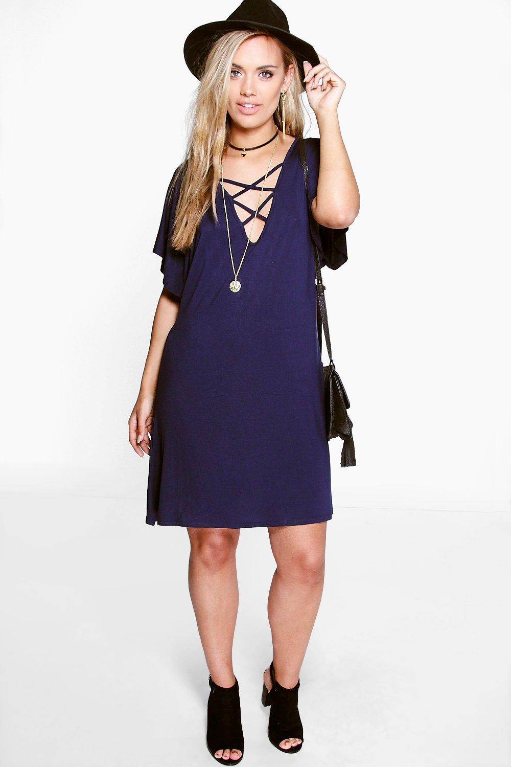 Plus Kim Strappy Front Swing Dress