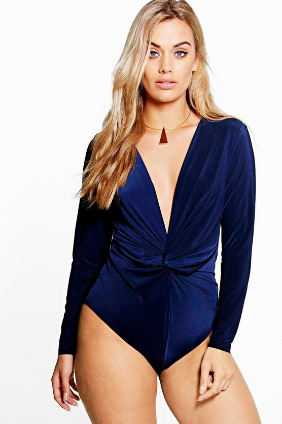 Plus Kate Twist Front Plunge Bodysuit