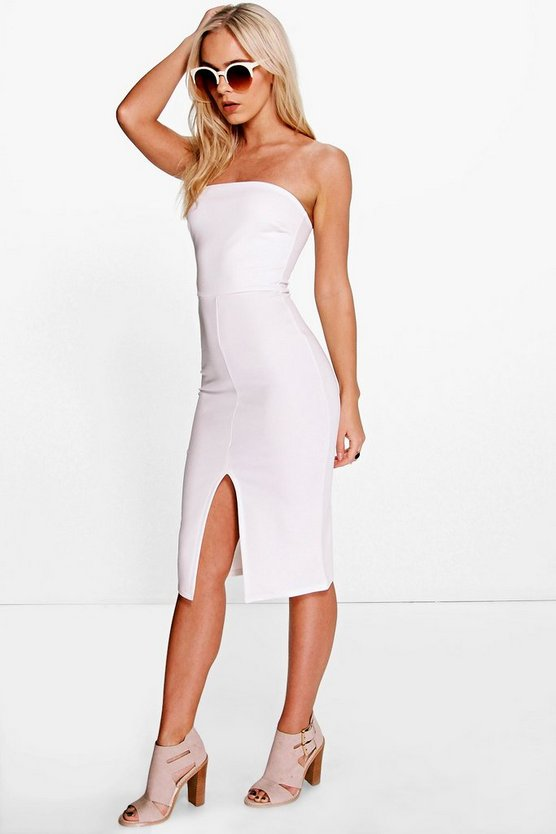 Petite Zoe Bandeau Split Front Midi Dress