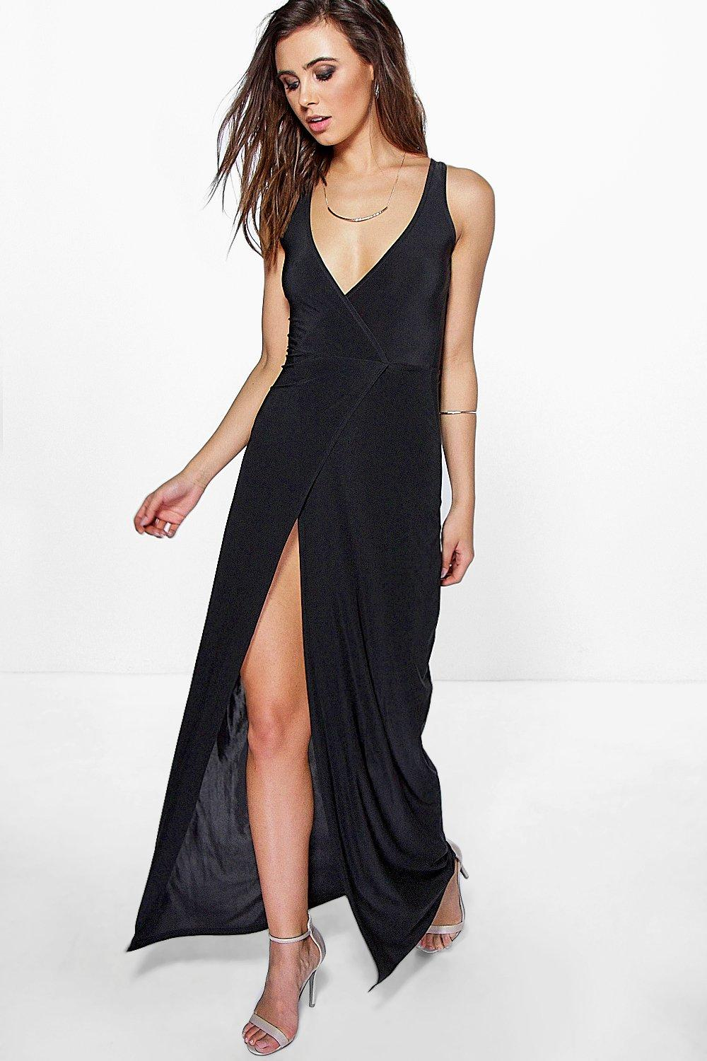Petite Mia Wrap Sleeveless Maxi Dress
