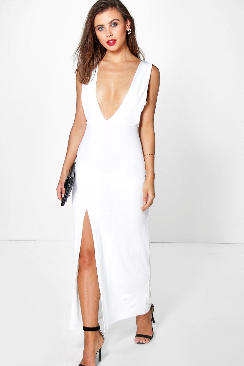 Product photo of Zoe plunge neck cut out detail maxi cream