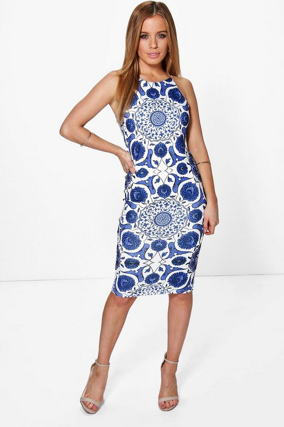 Petite Sally Printed Strappy Midi Dress