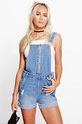 Petite Zoe Zip Front Distressed Dungaree Short