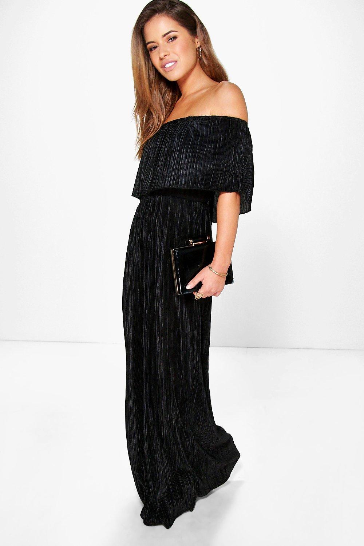 Helen Bardot Pleat Fabric Maxi Dress