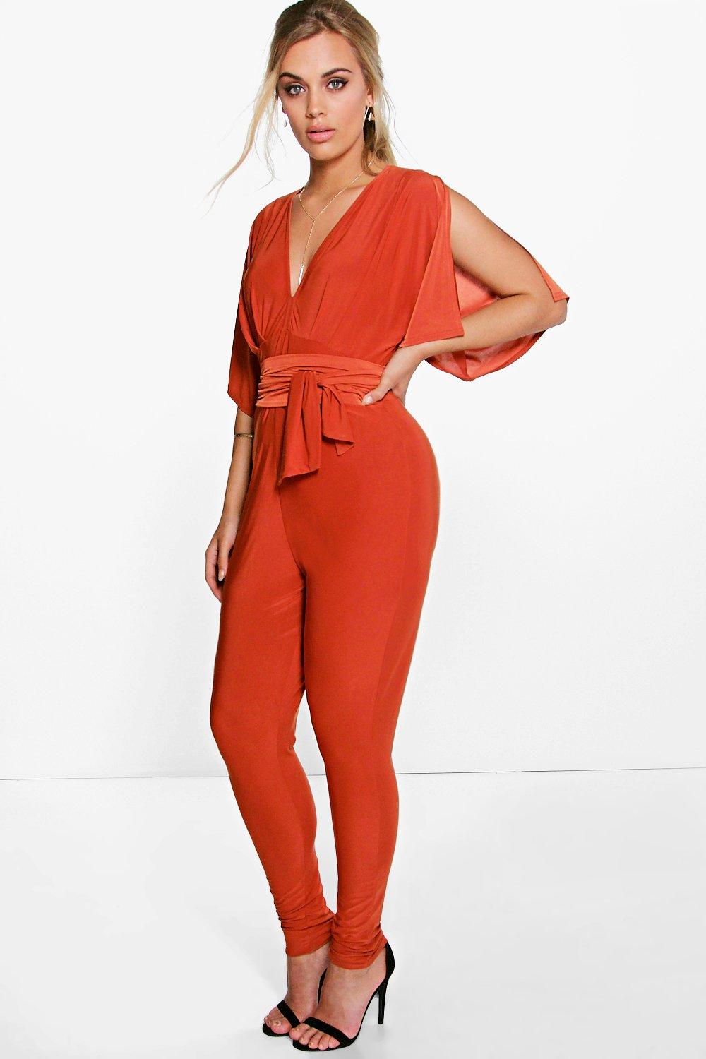 Plus Sara Plunge Neck Wrap Detail Jumpsuit