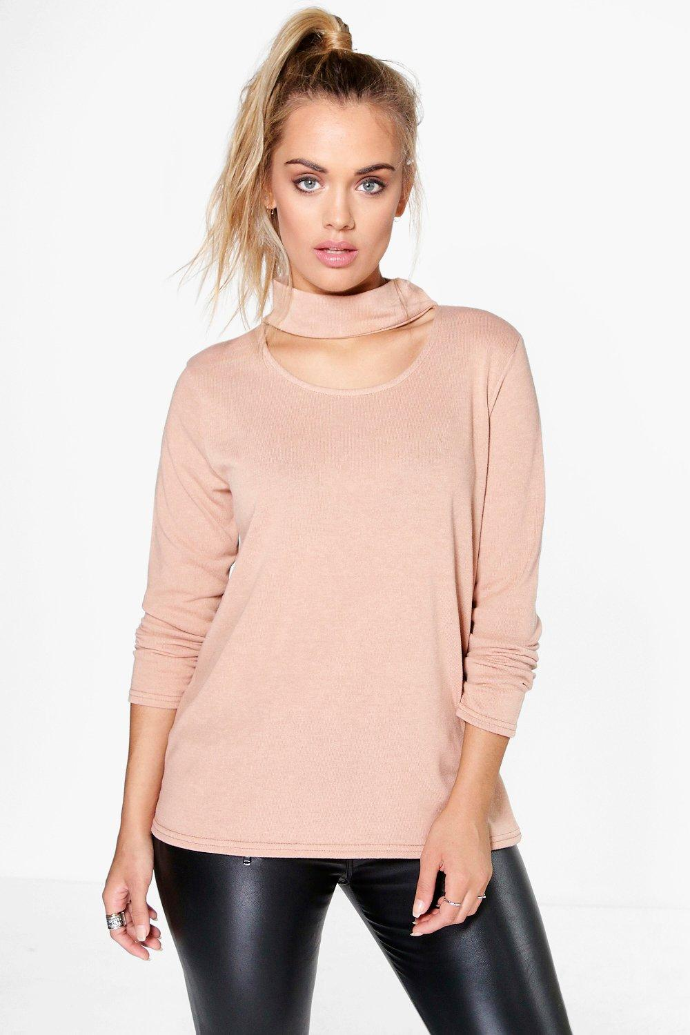 Plus Emma Cut Out Neck Knit Jumper