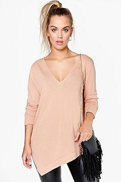 Plus Katie Asymmetric Knitted Jumper