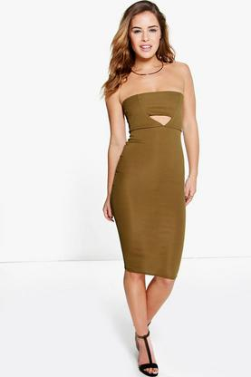 Petite Kate Rib Bandeau Bodycon Midi Dress