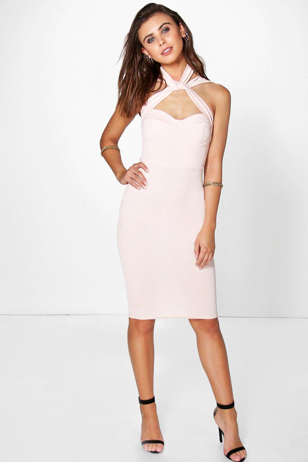 Petite Amy Strappy Top Detail Bodycon Dress