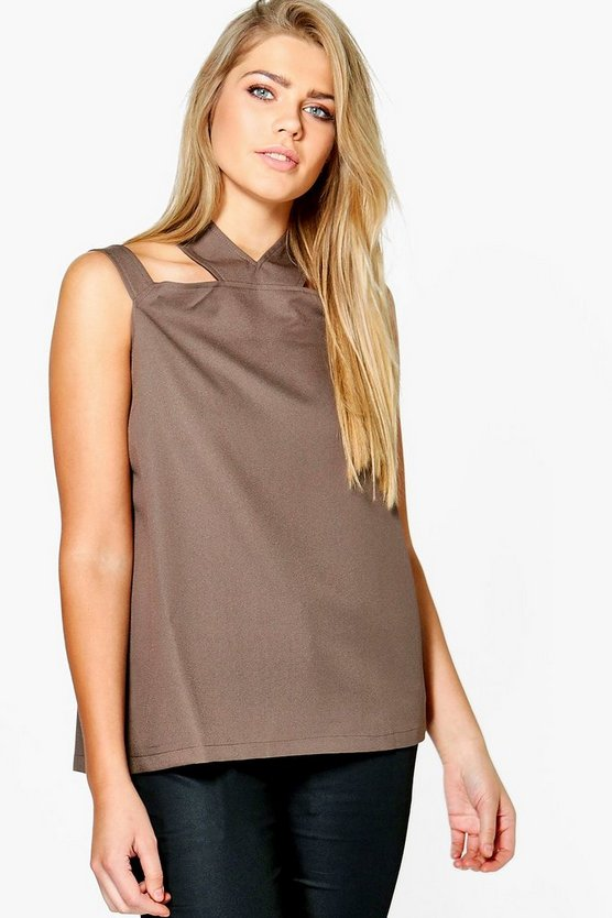 Plus Zoe Open Shoulder Halter Neck Woven Top