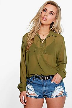 Plus Erin Tie Detail Wrap Front Blouse