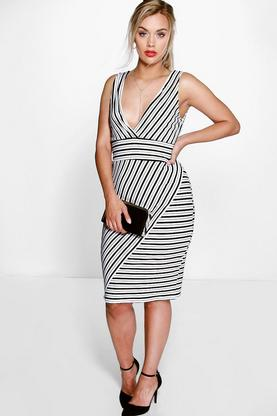 Plus Helen Stripe Plunge Neck Dress