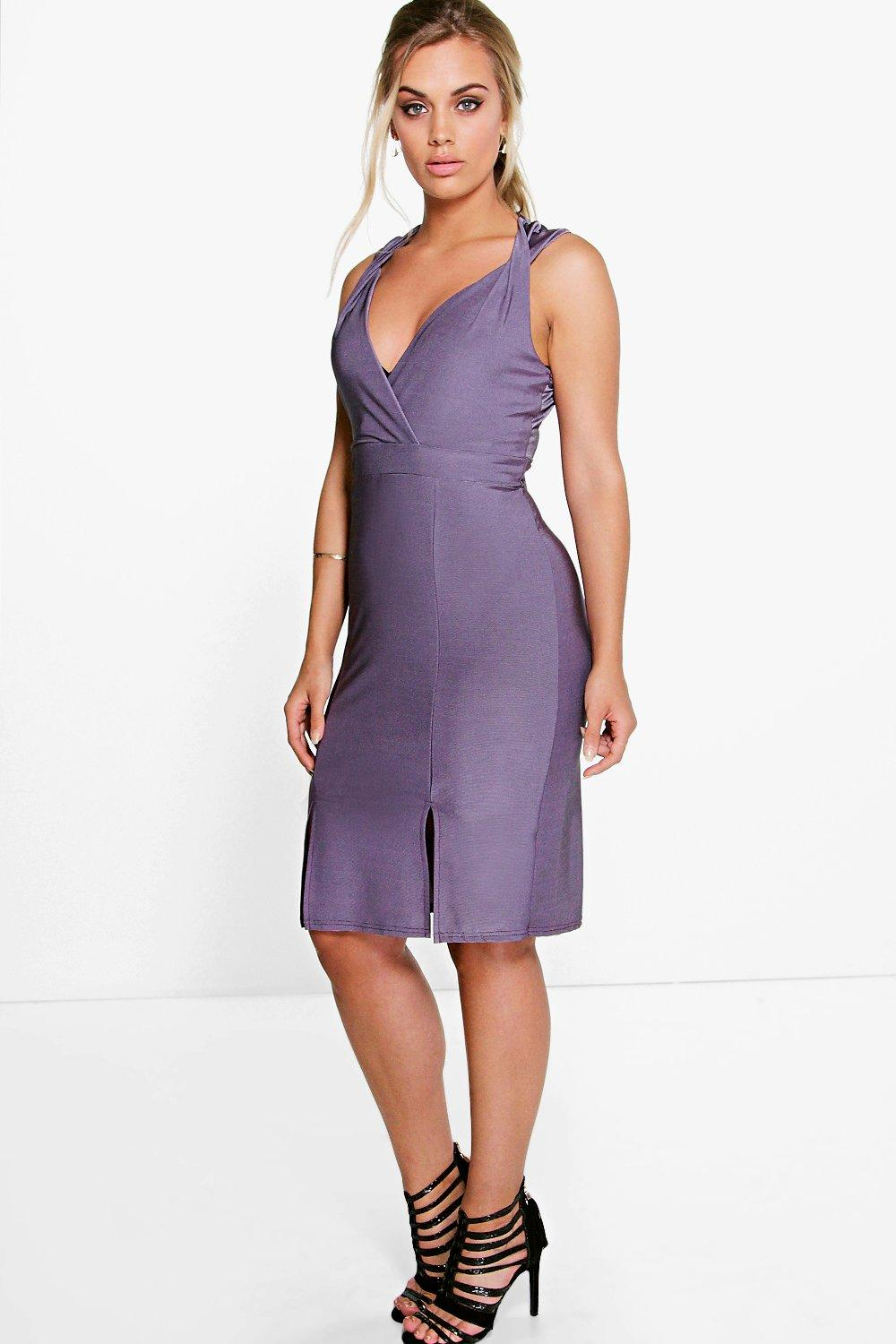 Kelly Shimmer Plunge Neck Midi Dress lilac