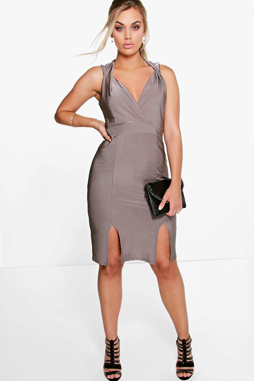 Plus Kelly Shimmer Plunge Neck Midi Dress
