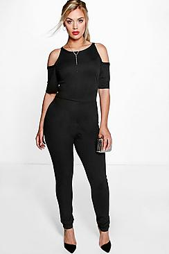 Plus Emily Open Shoulder Jumpsuit