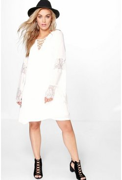Plus Katie Lace Up Insert Swing Dress