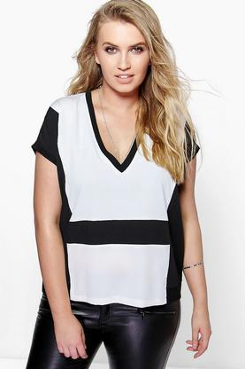 Plus Sophie Woven Contrast Panel Blouse
