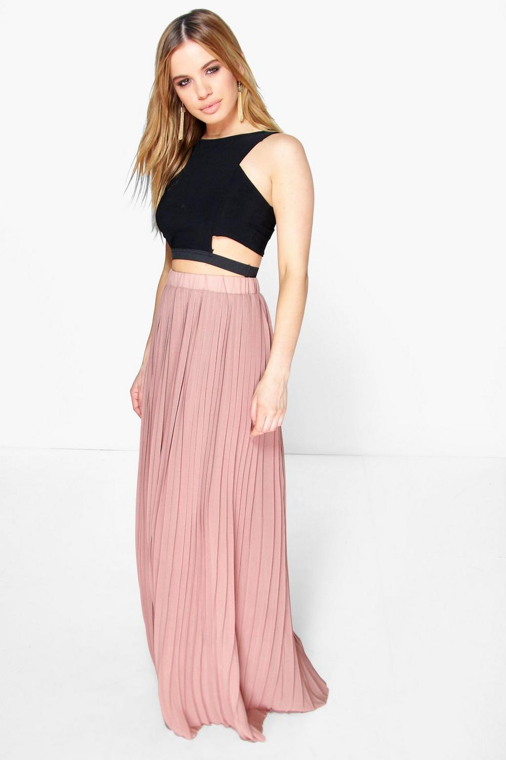 Petite Rachel Pleated Chiffon Maxi Skirt