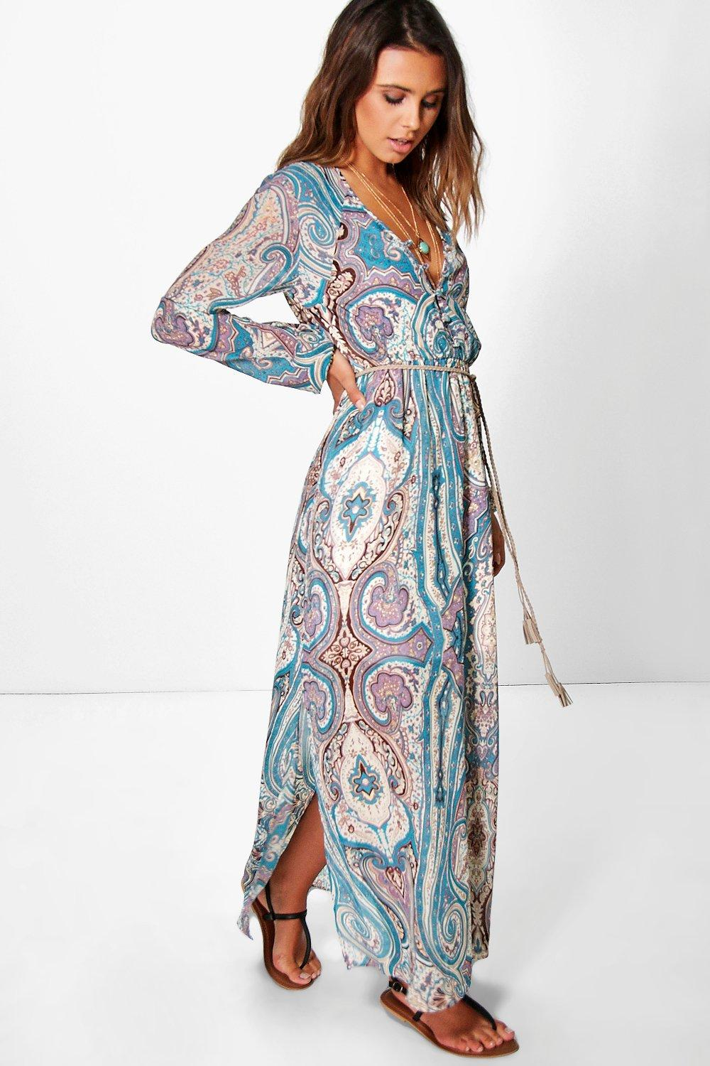 Petite Polly Paisley Cage Back Maxi Dress | Boohoo