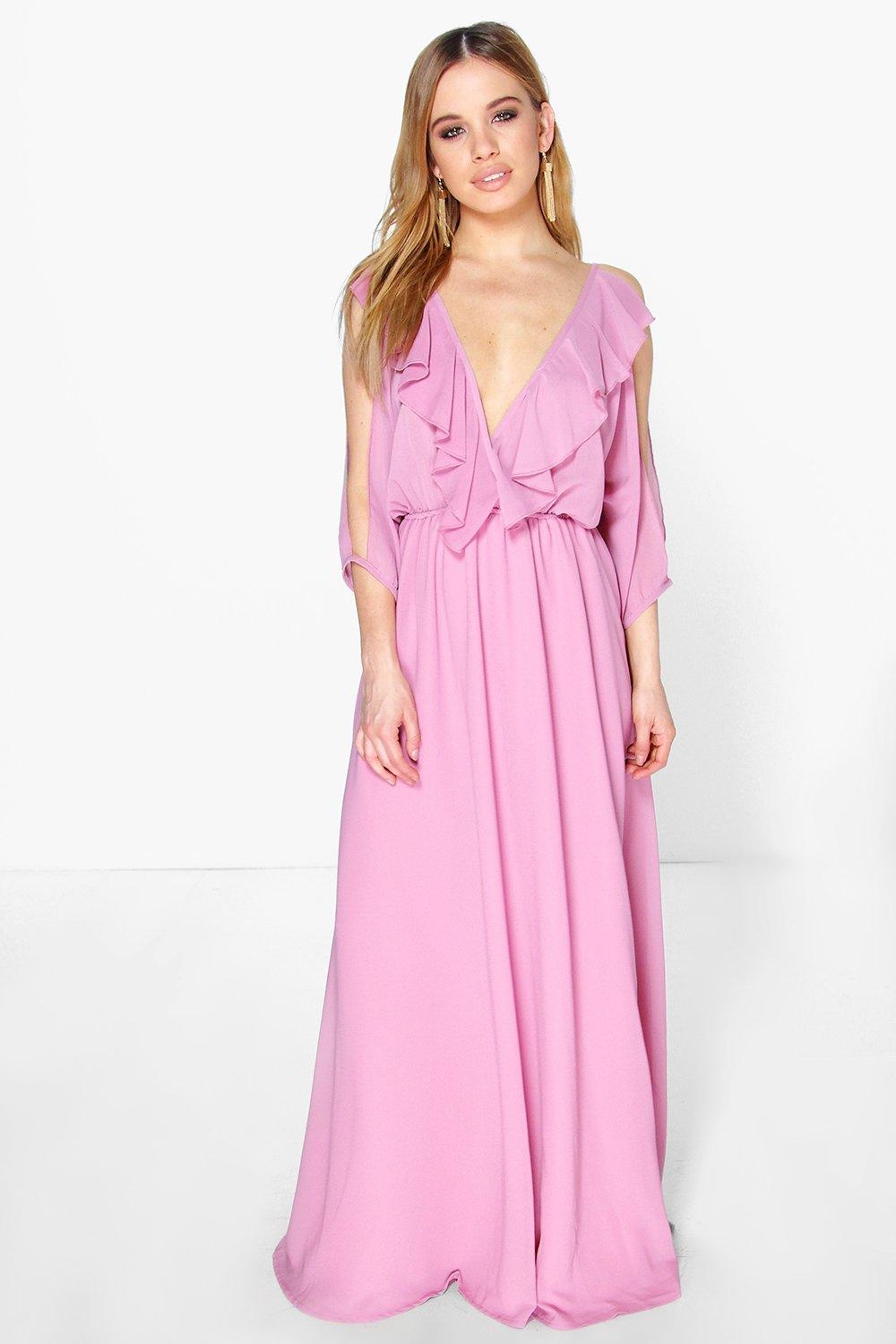 Petite Elle Ruffle Cold Shoulder Maxi Dress
