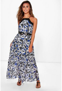 Petite Suzie Palm Print Square Neck Maxi Dress