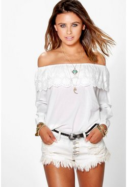 Petite Mia Cotton Embroidered Bardot Top