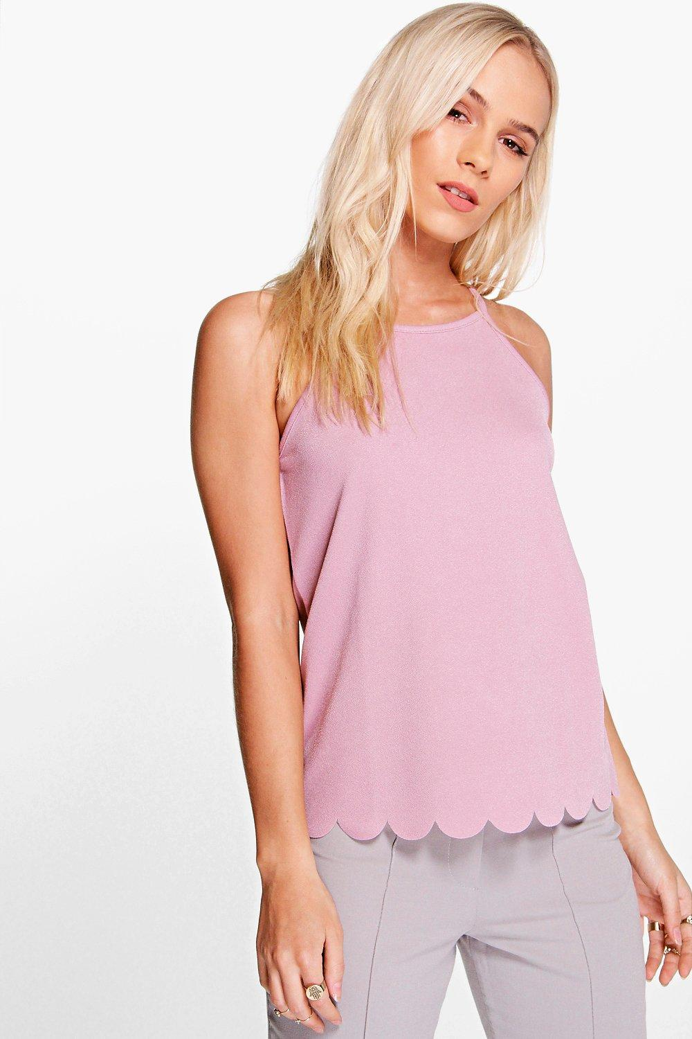 Holly Scallop Hem Strappy Top  mauve