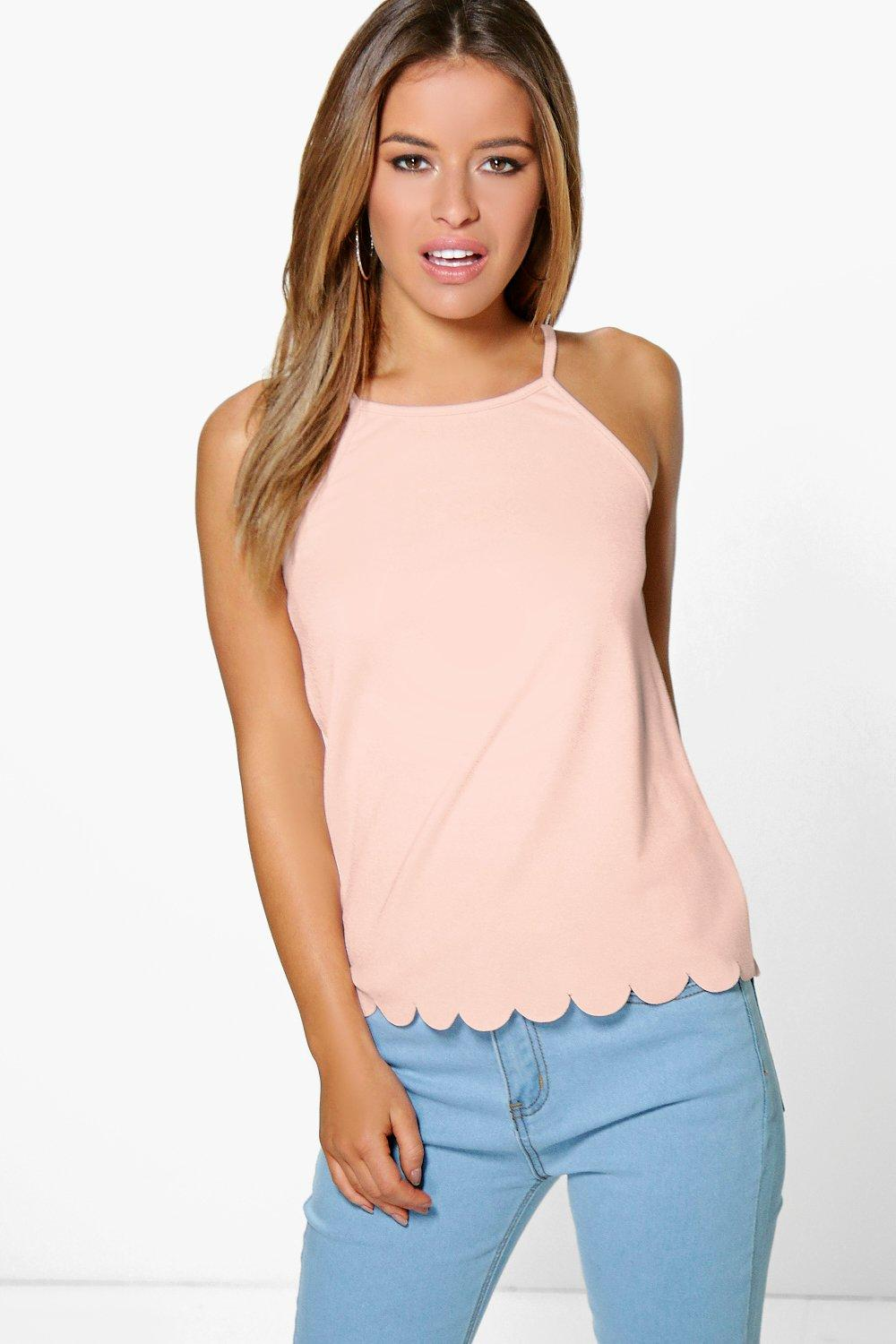 Holly Scallop Hem Strappy Top  nude