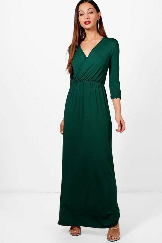 Petite Wrap Front 3/4 Sleeve Maxi Dress