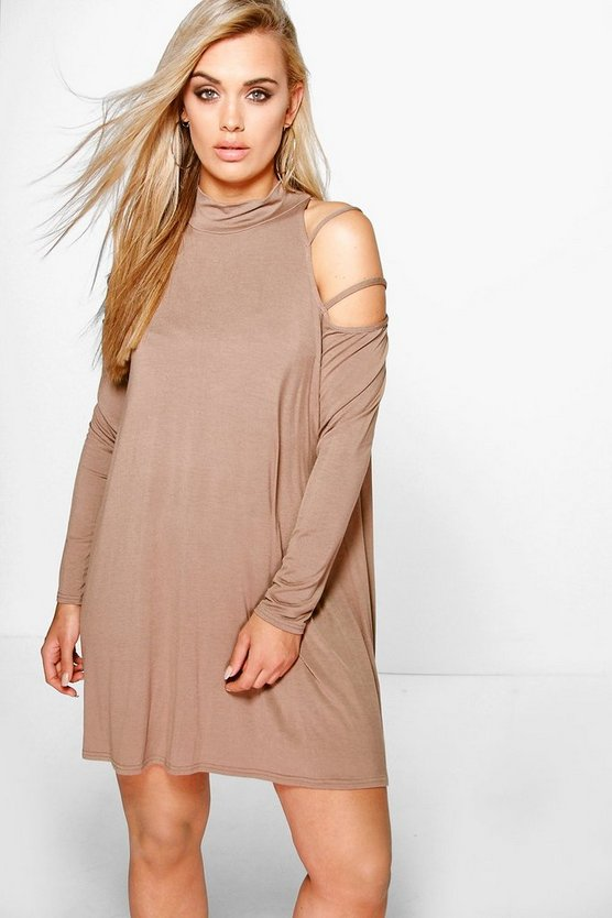 Plus Mel Cold Shoulder Strappy Swing Dress