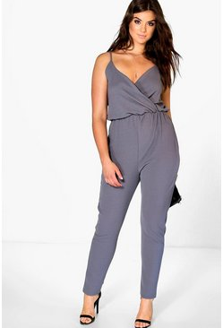 Plus Anna Crepe Wrap Front Jumpsuit