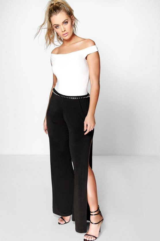 Plus Lara Wide Leg Side Split Trouser