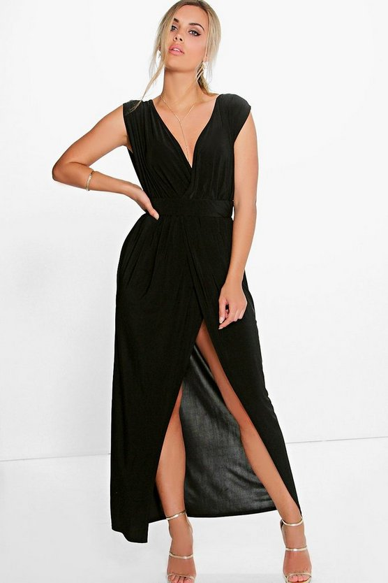 Plus Amy Plunge Detail Maxi Dress