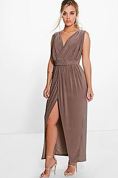 Plus Amy Plunge Detail Maxi Dress