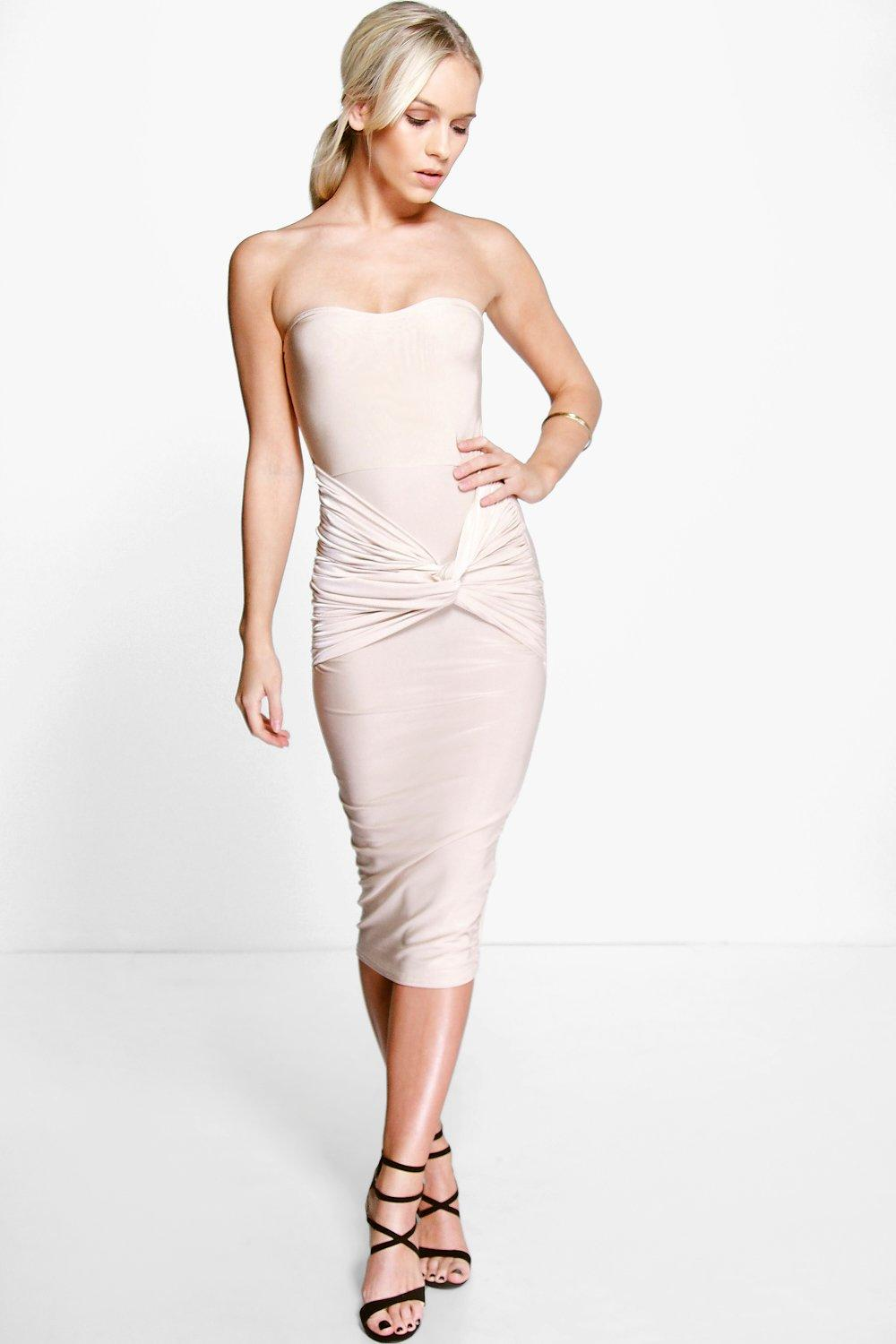 Petite Anna Bandeau Twist Detail Midi Dress