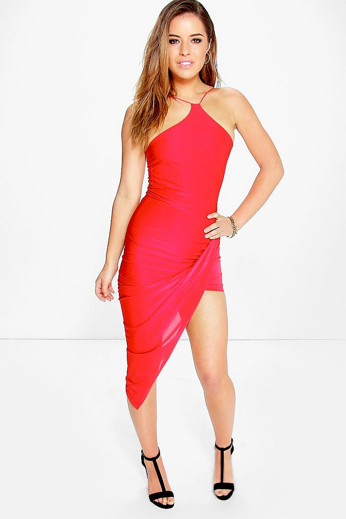 Petite Amy Strappy Drape Asymmetric Dress