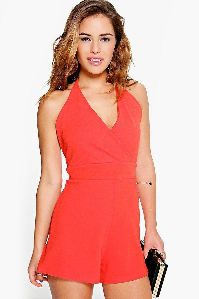 Petite Emma Wrap Front Strappy Playsuit
